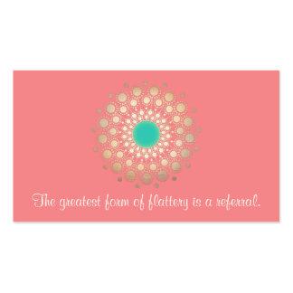 Gold Ornate Leaf Mandala Pink Coral Referral Card