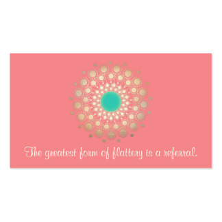 Gold Ornate Leaf Mandala Pink Coral Referral Card Double-Sided Standard Business Cards (Pack Of 100)