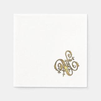 Gold Ornate Monogram U Napkin