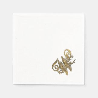 Gold Ornate Monogram W Paper Napkins