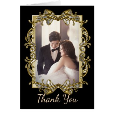 Halloween Themed Gold Ornate Photo Wedding Thank You Card