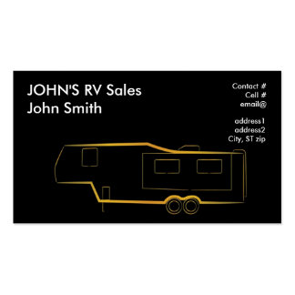 Gold outline 5th wheel trailer camper business card templates
