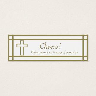 Gold Outline Cross Set - Wedding Drink Ticket