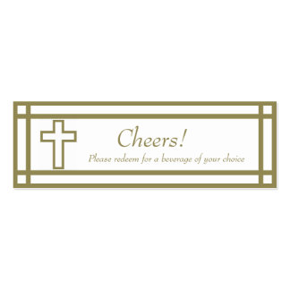 Gold Outline Cross Set - Wedding Drink Ticket Mini Business Card