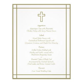 Gold Outline Cross Set Wedding Menu