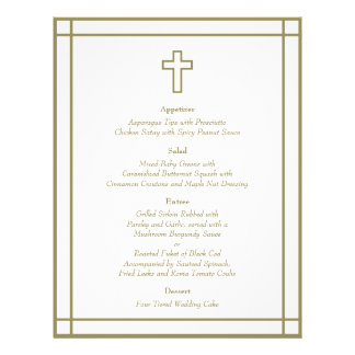 "Gold Outline Cross Set Wedding Menu 8.5"" X 11"" Flyer"