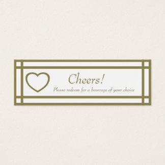 Gold Outline Heart Set - Wedding Drink Ticket