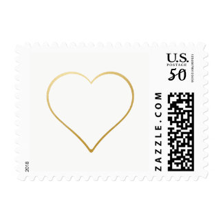 Gold Outline Heart Wedding Love Stamp