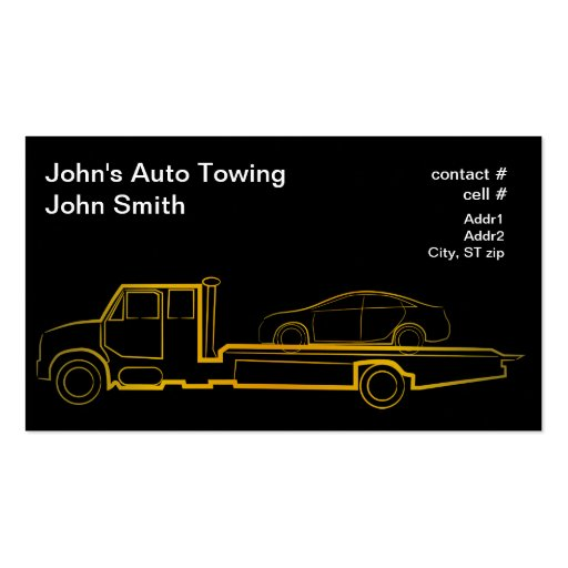 Gold outline rollback wrecker with sedan business cards