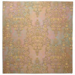 Gold over Gold Antique Style Lace Damask Cloth Napkin