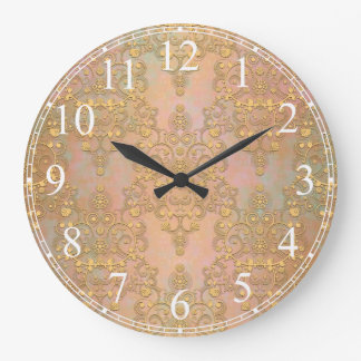 Gold over Gold Antique Style Lace Damask Wall Clocks