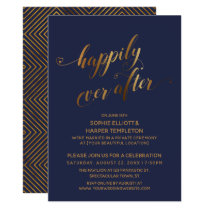 Gold over Navy Happily Ever After Post Wedding Invitation