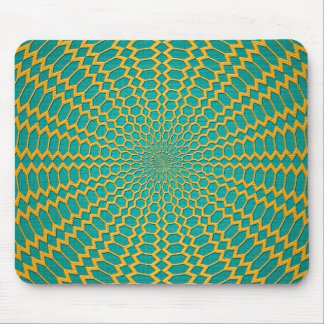 Gold over Teal Green Radial Design Mousepads