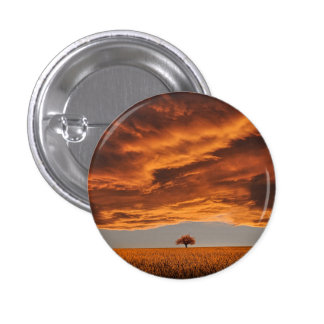 Gold over the sad tree cloud 1 inch round button