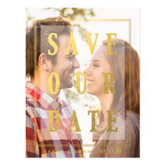 Gold Overlay | Save the Date Postcard