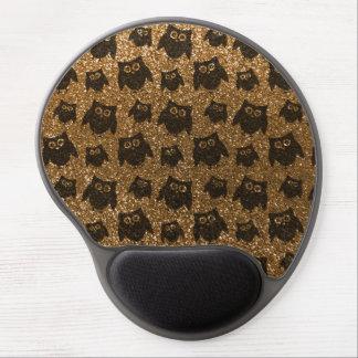 Gold owl glitter pattern gel mouse pad