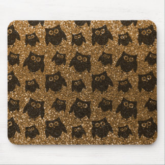 Gold owl glitter pattern mouse pad