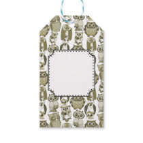 Gold Owls Gift Tags