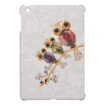 Gold Owls Jewels Paisley Lace Print iPad Mini Covers
