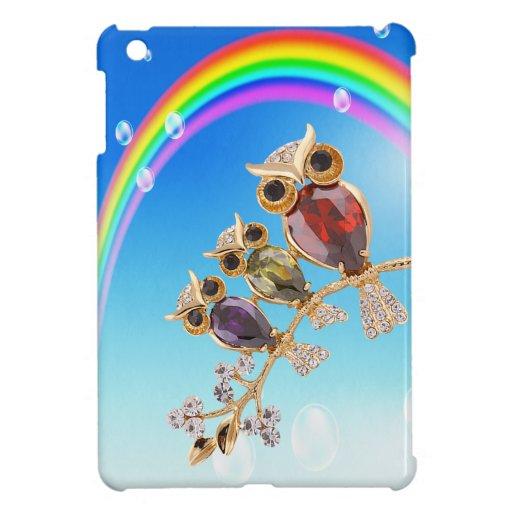 Gold Owls Jewels Print Rainbow iPad Mini iPad Mini Covers