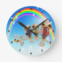 Gold Owls Jewels & Rainbow Clock