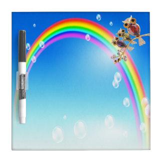 Gold Owls Jewels & Rainbow Dry Erase Board