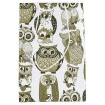 Gold Owls Medium Gift Bag