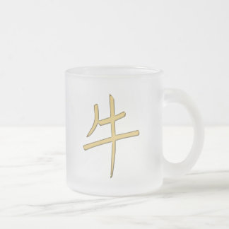 gold ox frosted glass coffee mug
