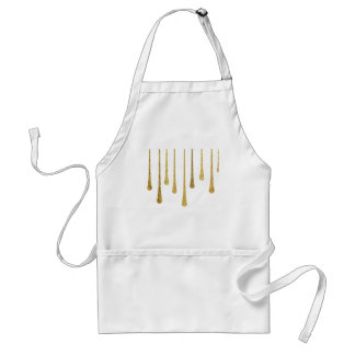 Gold Paint Drips Adult Apron