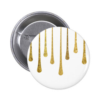 Gold Paint Drips Pinback Button