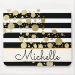 Gold Paint Splatter Black White Stripes Monogram Mouse Pad<br><div class='desc'>This elegant and swanky gold paint splatter on black and with stripes pattern is perfect for the trendy and stylish woman. It&#39;s modern and upscale print is great for many gifts and occasions. Just customize this design  with your own personalized monogram name!</div>