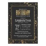 Gold Paint Splatters Birthday Party Invites