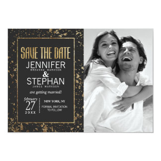 Gold Paint Splatters Save the Dates Card