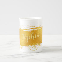 Gold Paint Stroke Add Name Tea Cup