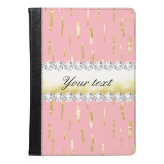 Gold Paint Strokes and Diamonds Pink iPad Air Case
