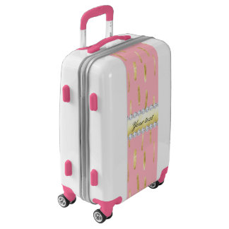 Gold Paint Strokes and Diamonds Pink Luggage