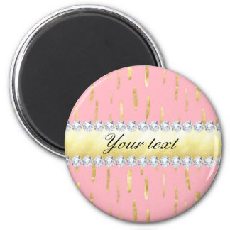 Gold Paint Strokes and Diamonds Pink Magnet