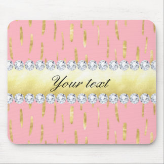 Gold Paint Strokes and Diamonds Pink Mouse Pad