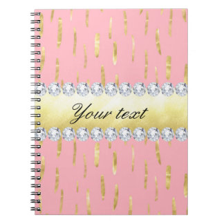 Gold Paint Strokes and Diamonds Pink Notebook