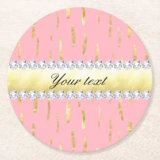 Gold Paint Strokes and Diamonds Pink Round Paper Coaster