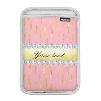 Gold Paint Strokes and Diamonds Pink Sleeve For iPad Mini