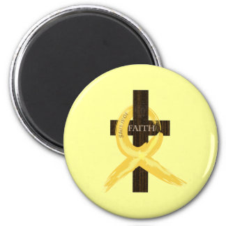 Gold Painted Cancer Ribbon 2 Inch Round Magnet