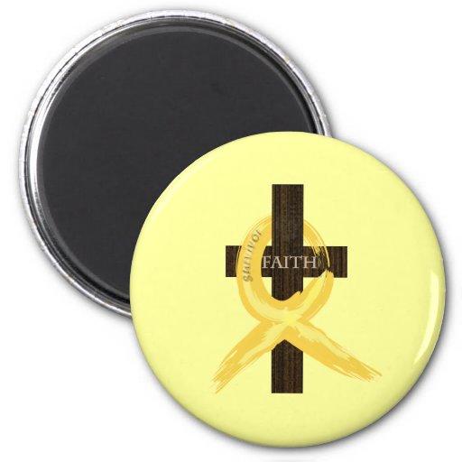 Gold Painted Cancer Ribbon Fridge Magnets