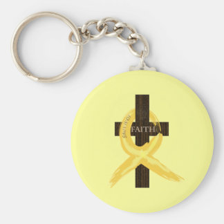 Gold Painted Cancer Ribbon Keychain