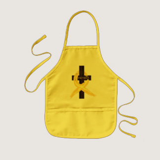 Gold Painted Cancer Ribbon Kids' Apron