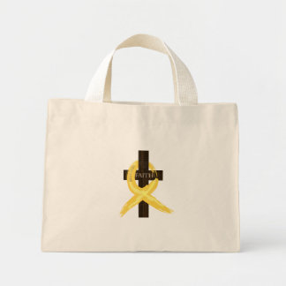 Gold Painted Cancer Ribbon Mini Tote Bag