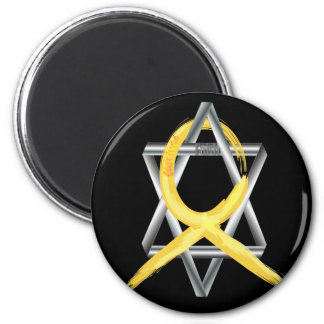 """Gold """"Painted"""" Childhood Cancer Ribbon 2 Inch Round Magnet"""