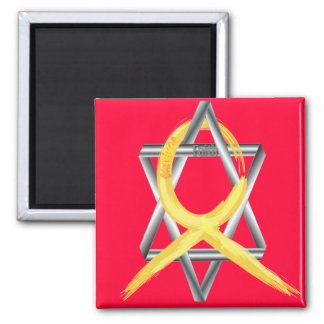 """Gold """"Painted"""" Childhood Cancer Ribbon 2 Inch Square Magnet"""