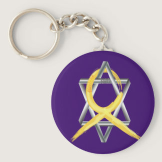 """Gold """"Painted"""" Childhood Cancer Ribbon Keychain"""