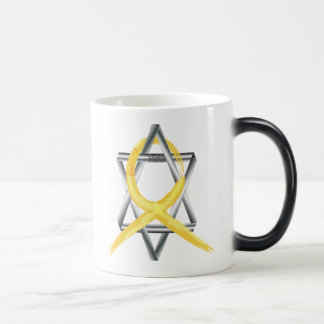 "Gold ""Painted"" Childhood Cancer Ribbon Magic Mug"